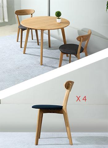 Table Sirkel 100cm + 4 Chaises Bleu Marine