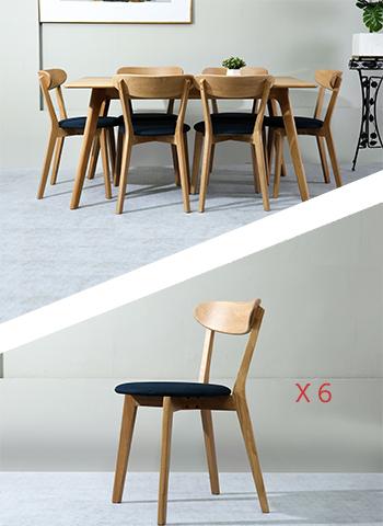 Table Sammen 160cm + 6 Chaises Bleu Marine