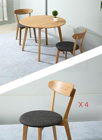 Table Sirkel 100cm + 4 Chaises Gris foncé