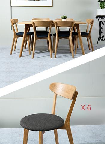 Table Sammen 160cm + 6 Chaises Gris foncé